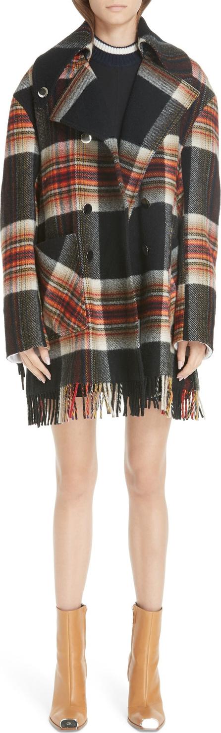 Calvin Klein 205W39NYC x Pendleton Fringe Plaid Blanket Coat