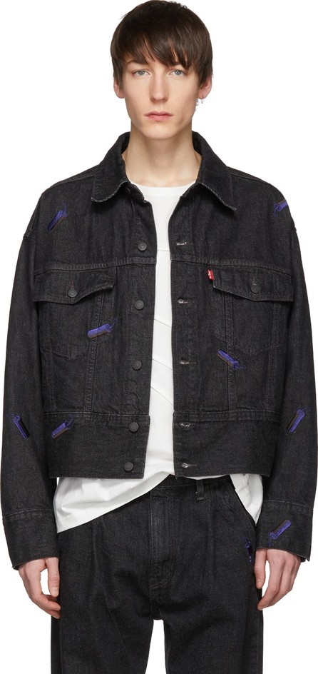 Feng Chen Wang Black Levi's Edition Embroidered Denim Jacket