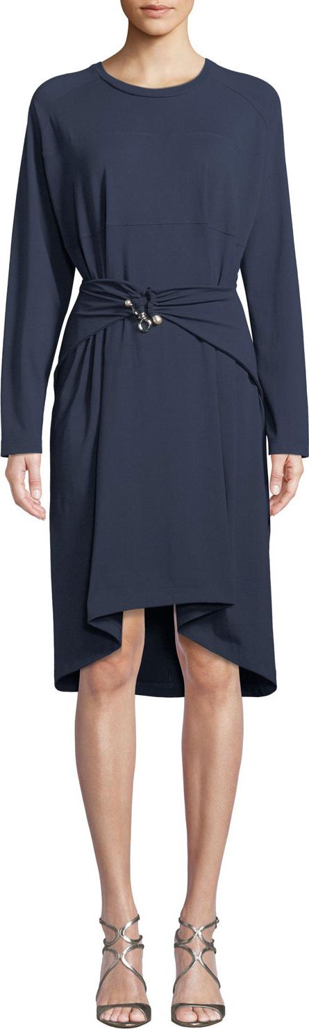 Carven Belted Long-Sleeve Crewneck Dress