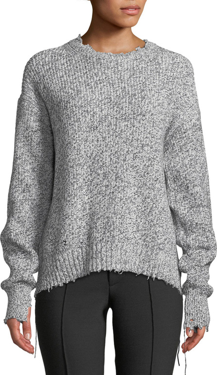 Helmut Lang Distressed Cotton-Blend Crewneck Sweater