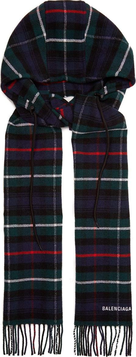 Balenciaga Hooded checked wool scarf