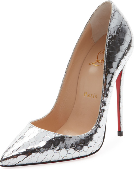 Christian Louboutin So Kate 120mm Metallic Crackled Leather Red Sole Pump