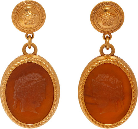Versace Cameo gold-tone brass dropped earrings