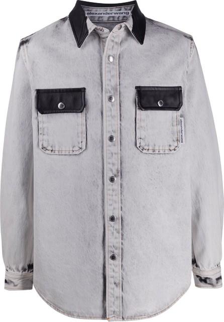 Alexander Wang Leather-trimmed denim shirt