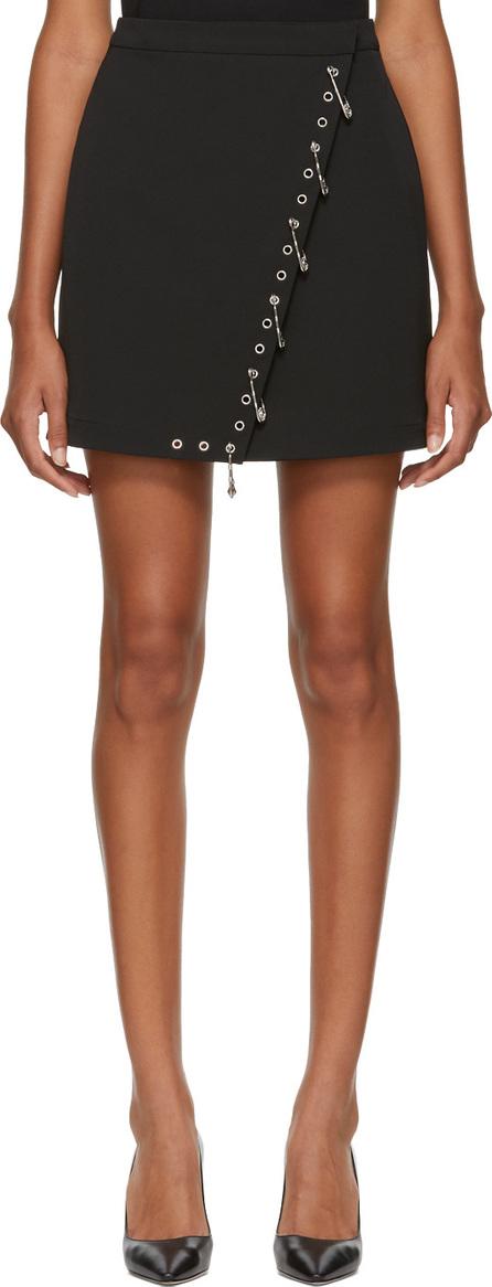 Versus Versace Black Safety Pin & Grommet Fold Over Miniskirt