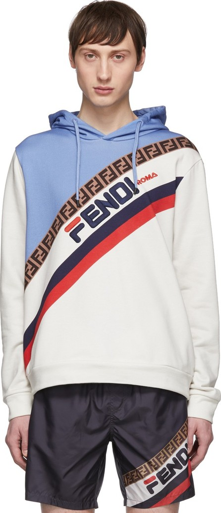 Fendi Off-White & Blue 'Fendi Mania' Hoodie