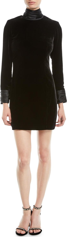 Cinq A Sept Felicity Turtleneck Velvet Long-Sleeve Mini Dress