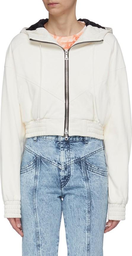 Amiri Cropped leather zip hoodie
