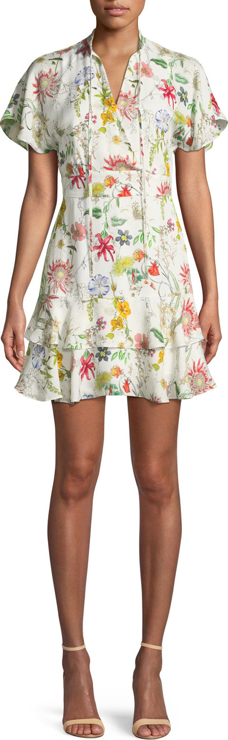 Parker Natalie Floral-Print Silk Short Dress