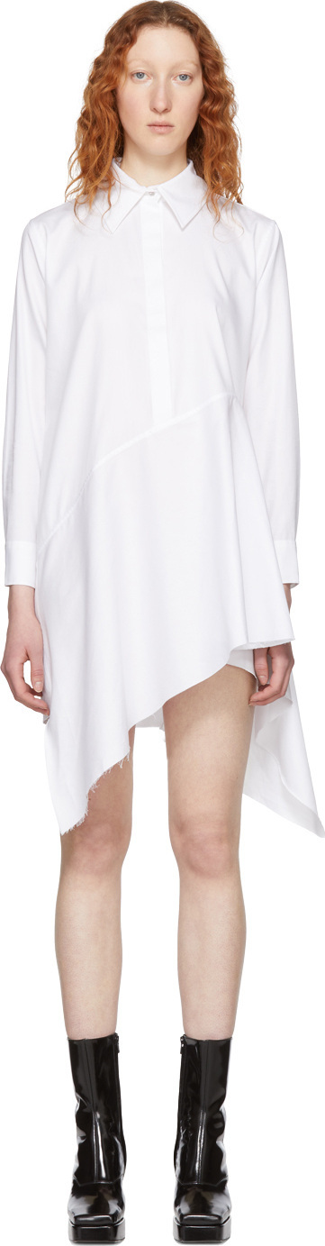 Marques'Almeida White Asymmetric Shirt Dress