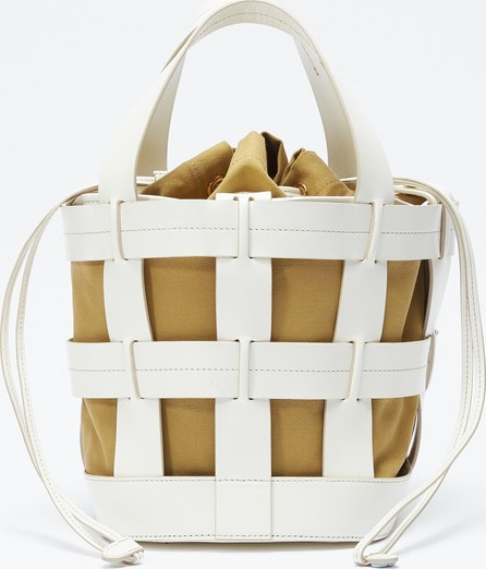 Trademark 'Cooper Cage' canvas pouch leather bucket bag