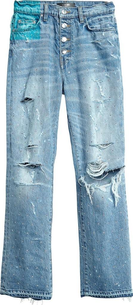 Amiri crystal studded straight jean