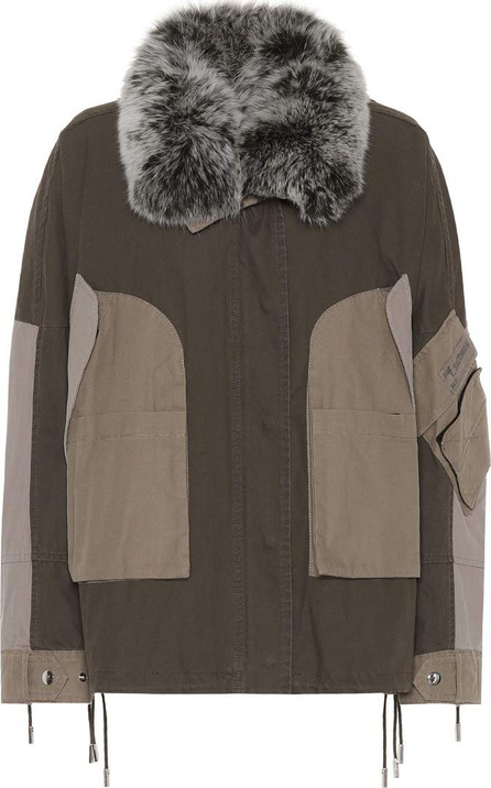Fur-trimmed cotton parka