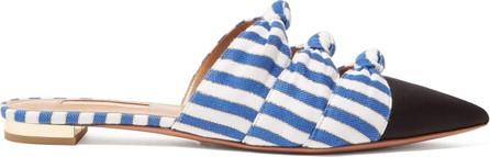 Aquazzura Mondaine knot-detail striped backless loafers