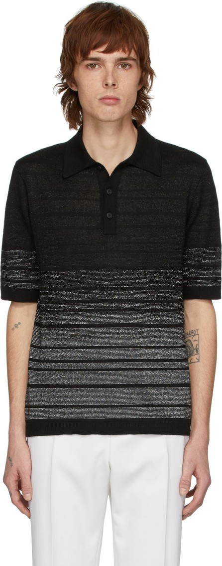 Saint Laurent Black & Silver Lurex Polo