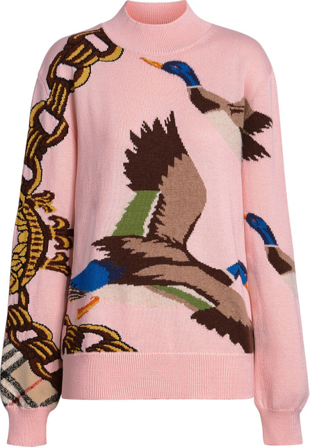 Burberry London England Duck Intarsia Cotton Cashmere Wool Sweater