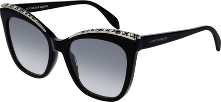 Alexander McQueen Cat-Eye Acetate Sunglasses w/ Crystal Brows