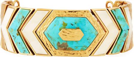 Akola Turquoise & Bone Chevron Link Bracelet