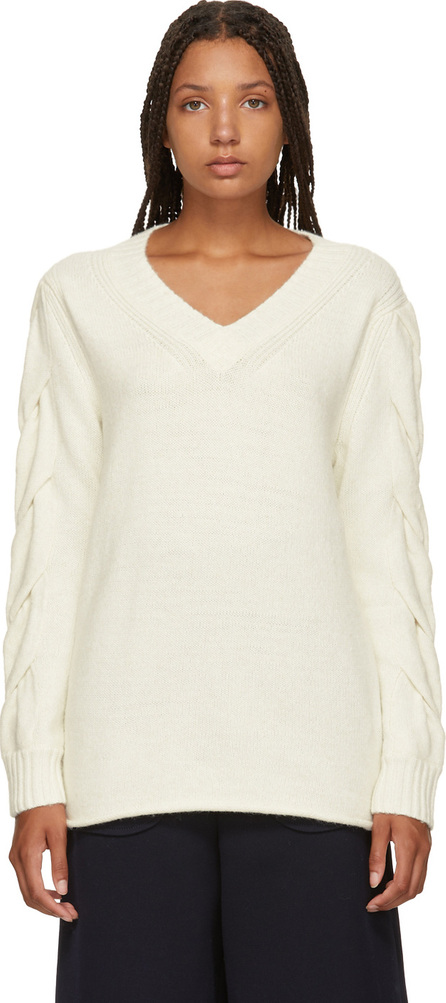 See By Chloé White V-Neck Sweater
