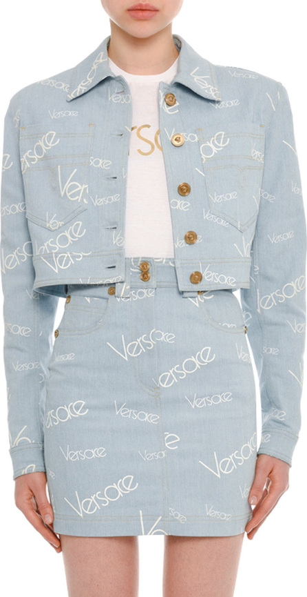 Versace Button-Front Cropped Denim Jacket