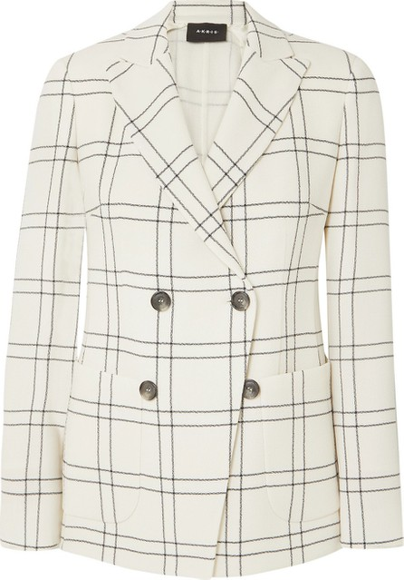 Akris Danita checked wool and cotton-blend crepe double-breasted blazer