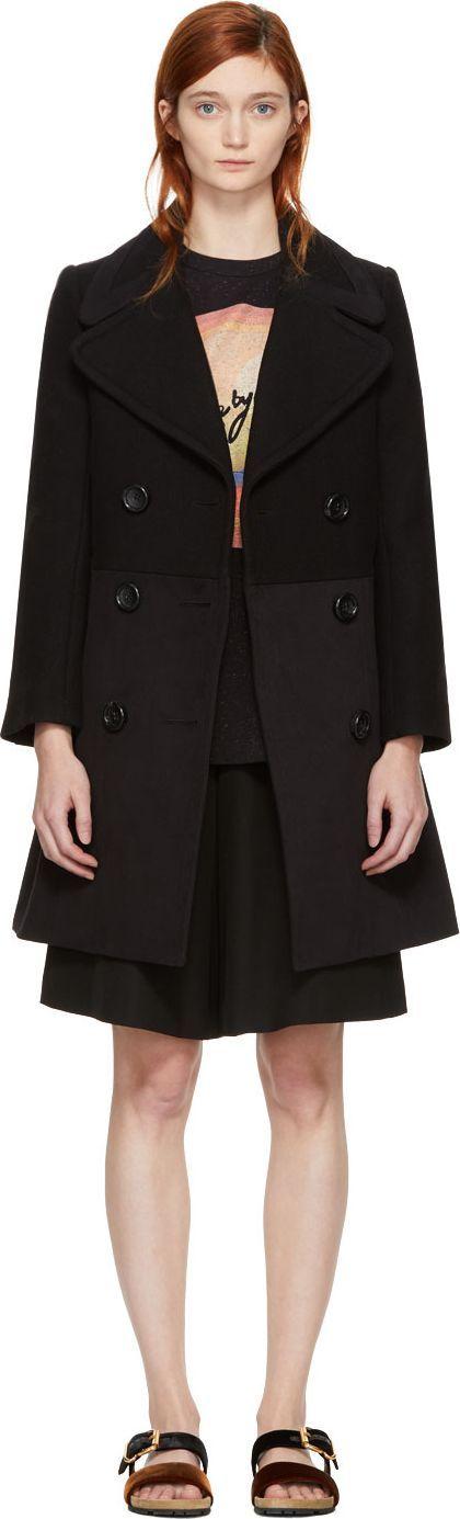 See By Chloé Black Wool City Coat