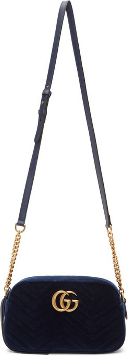 Gucci Blue Velvet Small GG Marmont 2.0 Shoulder Bag