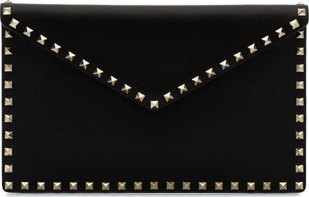 Valentino Black rockstud leather envelope clutch