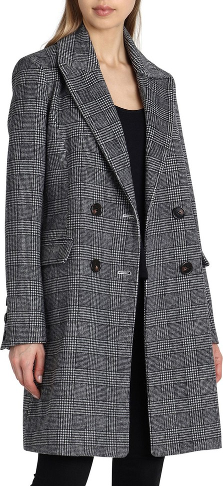Avec Les Filles Glen Plaid Double-Breasted Wool Coat