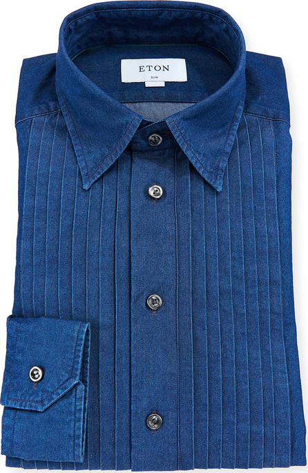 Eton Men's Slim-Fit Denim Bib-Front Tuxedo Shirt