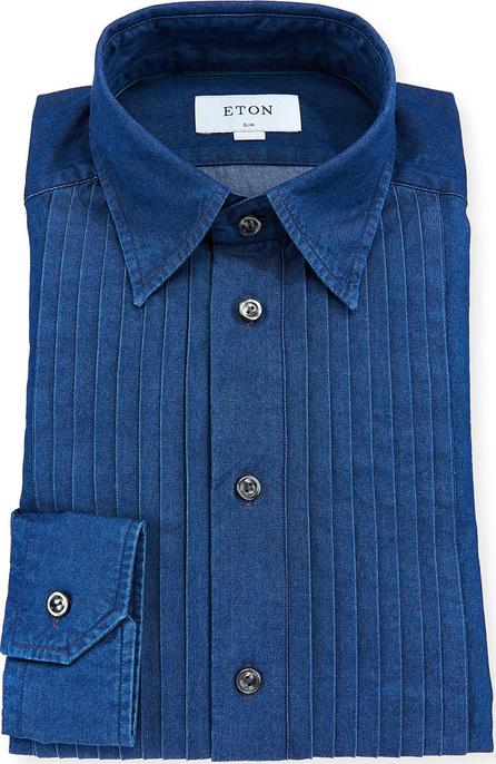 Eton Men's Slim-Fit Denim Bib-Front Tuxedo Shirt