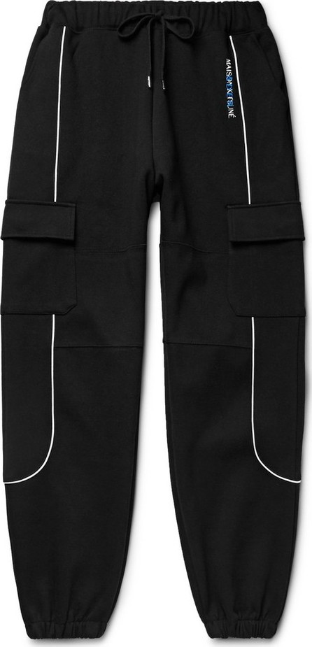 Maison Kitsune + ADER error Logo-Embroidered Piped Cotton-Blend Jersey Sweatpants