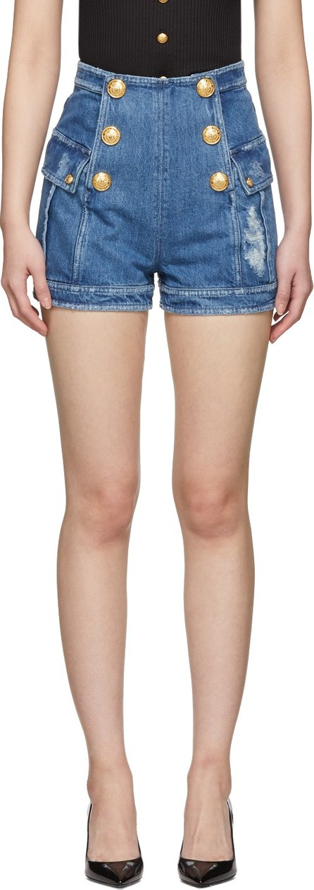 Balmain Blue Denim Six-Button Shorts
