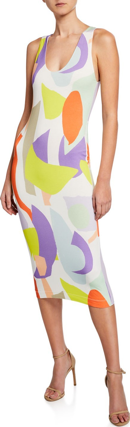 Alice + Olivia James Scoop-Neck Sleeveless Fitted Dress