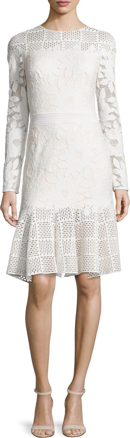 Tadashi Shoji Long-Sleeve Mixed-Media Dress