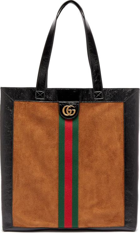 Gucci Ophidia suede large tote with leather trim
