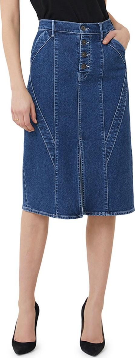 3X1 Paneled Button-Fly Split-Front Denim Pencil Skirt