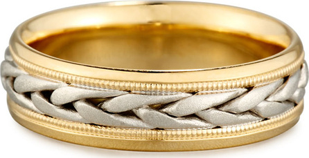 Eli Jewels Gents Two-Tone Braided 18K Gold Wedding Band Ring, Size 10