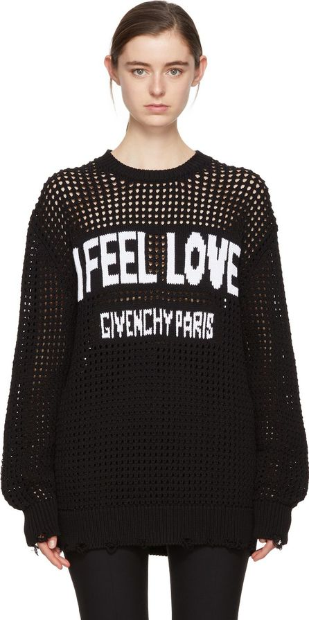 Givenchy Black Oversized 'I Feel Love' Sweater
