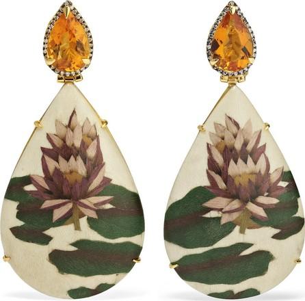Silvia Furmanovich Marquetry 18-karat gold, wood, citrine and diamond earrings