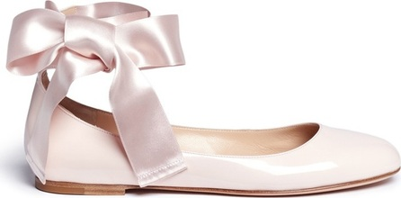 Gianvito Rossi 'Odette' ribbon tie patent leather ballerinas