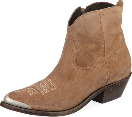 Golden Goose Deluxe Brand Young Suede Stitched Western Bootie