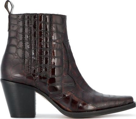 Ganni Pointed Croc Cowboy Boot