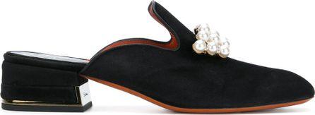 Santoni embellished pearls mules