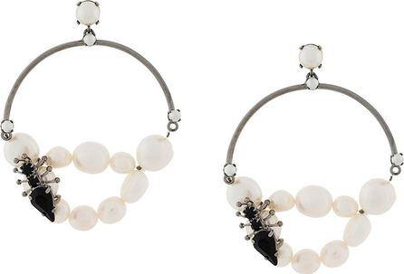 Ermanno Scervino Insect embellished pearl hoops