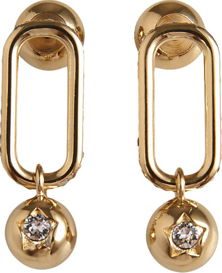 Burberry London England Crystal Charm Gold-plated Drop Earrings