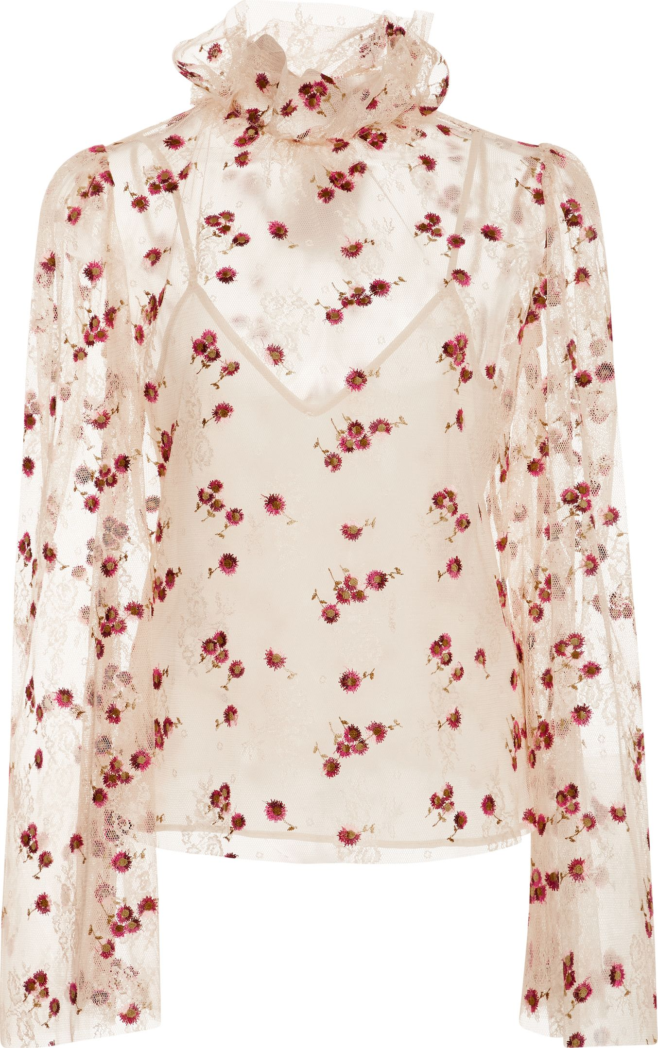 luisa beccaria - Sheer Floral Embroidered Blouse