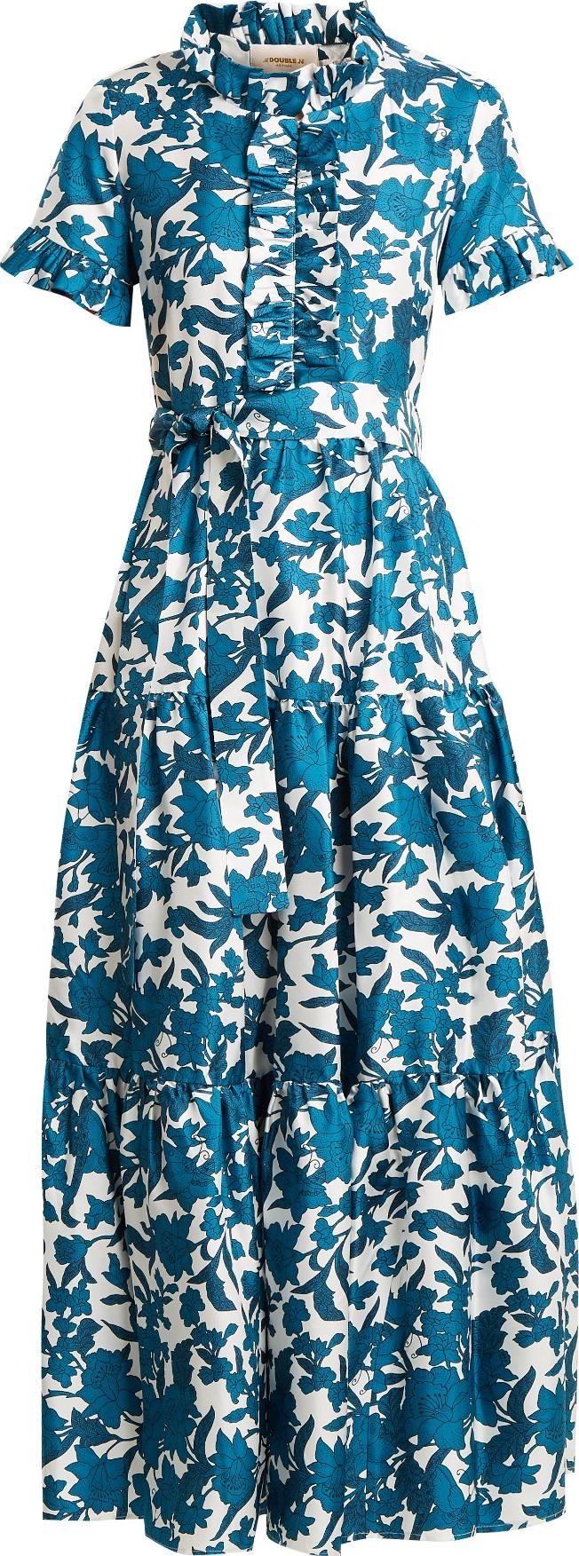 La Double J Long & Sassy Lilium Blu-print ruffled silk dress | mkt