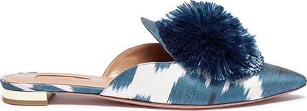 Aquazzura 'Powder Puff' pompom ikat print twill slippers