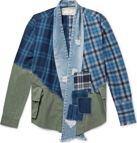 Greg Lauren Panelled Cotton-Canvas, Denim and Checked Flannel Jacket